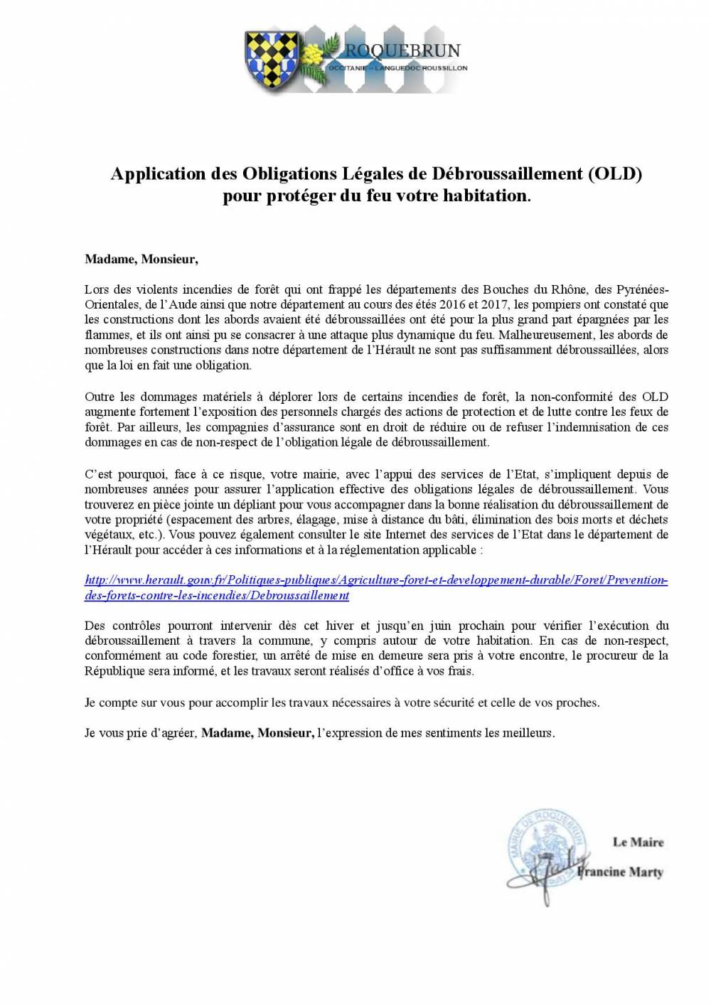 Application des Obligations Légales de Débroussaillement page 001