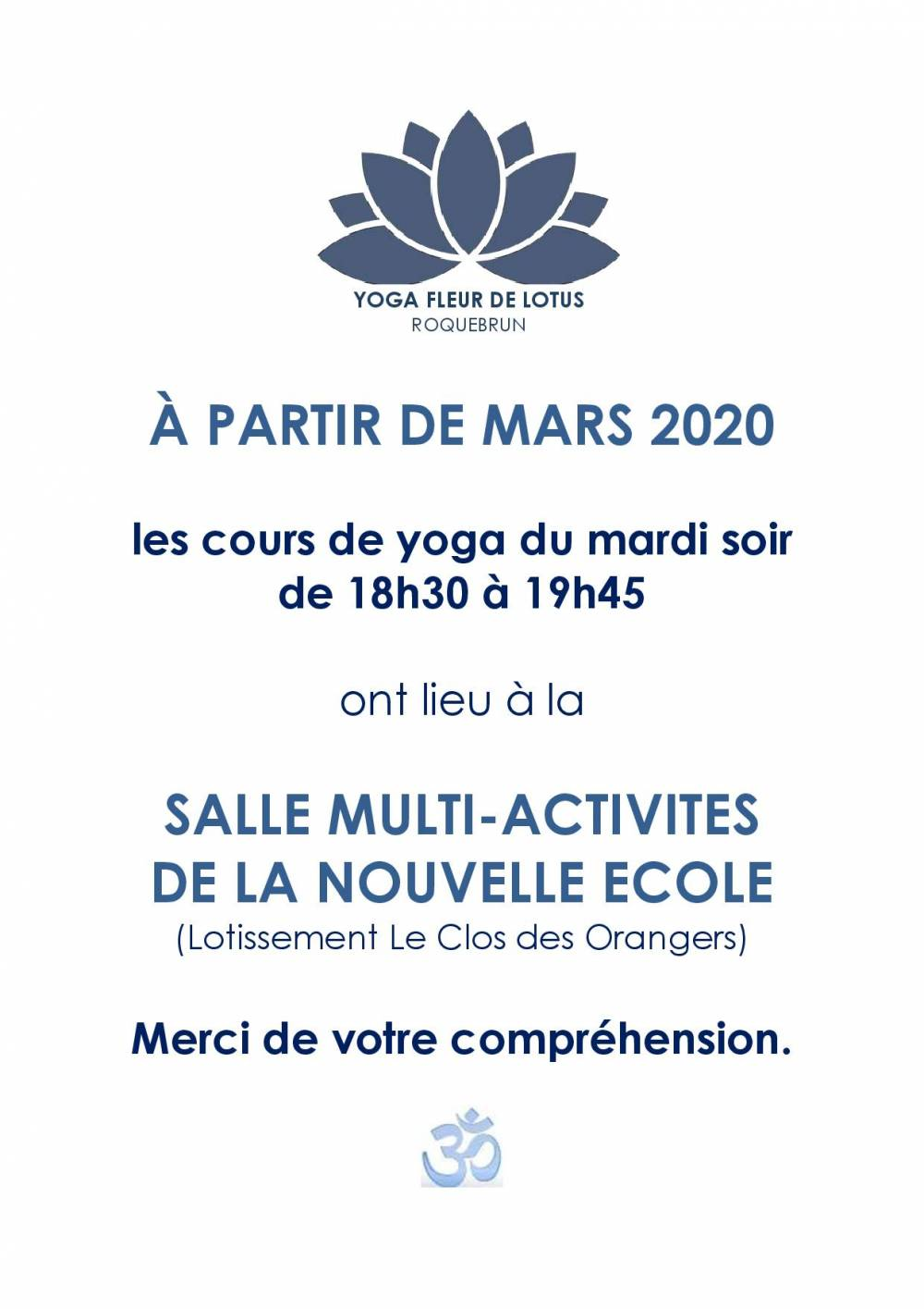 INFOS YOGA changement salle page 001